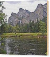 Valley View Of Bridalveil Falls Wood Print