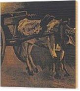 Van Gogh - Karren Mit Rotbraunem Ochsen.jpeg Cart With Red And White  Wood Print