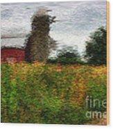 Van Gogh At The Barn Wood Print