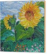 Van Gogh Sunflowers Wood Print