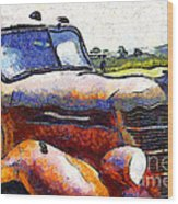 Van Gogh.s Rusty Old Truck . 7d15509 Wood Print by Wingsdomain Art and Photography
