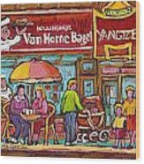 Van Horne Bagel Next To Yangste Restaurant Montreal Streetscene Wood Print