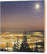 Vancouver At Night, Time-exposure Image Wood Print