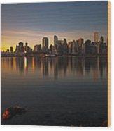 Vancouver Golden Sunrise Wood Print