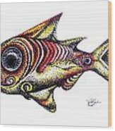 Variegated Red Fish In Stipple Wood Print