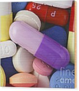 Variety Of Pills Wood Print by M. I. Walker