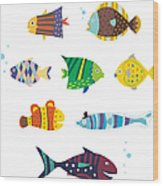 Various Fishes Wood Print