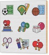 Various Sports Wood Print