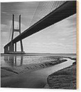 Vasco Da Gama Bridge Iv Wood Print by Nina Papiorek