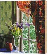 Vase Of Flowers And Mug By Window Wood Print