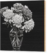 Vase Of Peonies In Black And White Wood Print