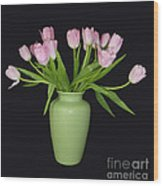 Vase Of Pink Tulips Wood Print