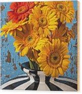 Vase With Gerbera Daisies  Wood Print