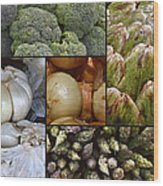 Vegetable Montage Wood Print by Forest Alan Lee