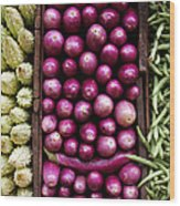 Vegetable Triptych Wood Print by Jane Rix