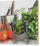 Vegetables With Kitchen Pots And Utensils On White  Wood Print by Sandra Cunningham