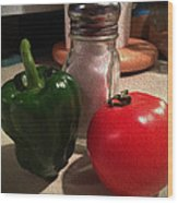 Veggies And Salt Wood Print