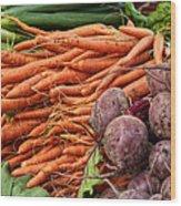Veggies At The Farmer's Market Wood Print by Jarrod Erbe