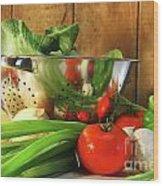 Veggies On The Counter Wood Print by Sandra Cunningham