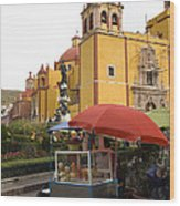 Vending Cart Outside Of The Basilica De Wood Print by Krista Rossow