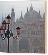Venice, St Mark's Basilica In Fog, Italy Wood Print
