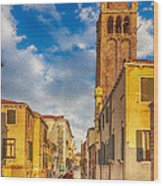 Venice Sunset View Of Two Towers From The Ponte San Barnaba On The Fondamenta Rezzonica Wood Print