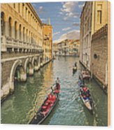Venice View To The Grand Canal From The Calle Foscari Bridge Wood Print