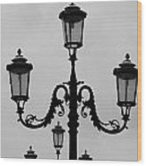 Venitian Lamp Posts Bw Wood Print
