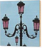 Venitian Lamp Posts Venice Italy Wood Print