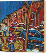 Verdun Rowhouses With Hockey - Paintings Of Verdun Montreal Street Scenes In Winter Wood Print