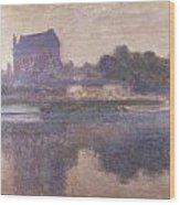 Vernon Church In Fog Wood Print by Claude Monet