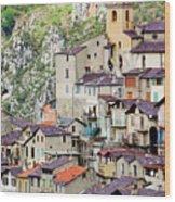 Vertical Panorama Of Saorge Wood Print