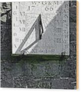 Vertical Sundial On Fenny Bentley Church Wood Print