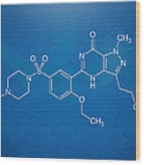 Viagra Molecular Structure Blueprint Wood Print