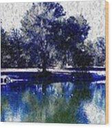 Vibrant Blue Wood Print