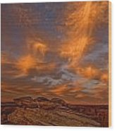 Vibrant Sunset Over The Rim Of Canyon Wood Print