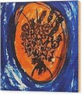 Victorian Contemporary Flowers In Blue And Orange Vortex Swirls Acrylic Monoprint Serigraph Wood Print