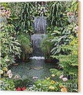 Victorian Garden Waterfall - Digital Art Wood Print