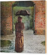 Victorian Lady By Brick Archway Wood Print