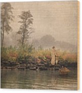 Victorian Lady By Row Boat Wood Print