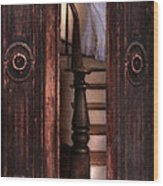 Victorian Lady Descending Stairs Wood Print