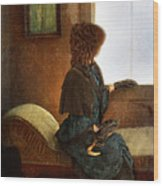 Victorian Lady Gazing Out The Window Wood Print