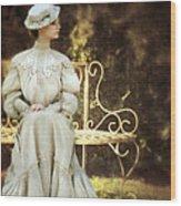 Victorian Lady On Garden Bench Wood Print
