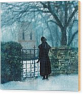 Victorian Woman At The Churchyard Gate Wood Print