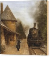 Victorian Woman At Train Station Wood Print
