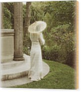 Victorian Woman In Garden With Parasol Wood Print