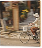 Vietnamese Woman Riding A Bicycle Wood Print