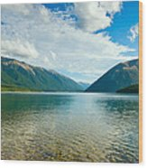 View Above A Beautiful Lake During Mid Day Wood Print