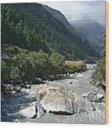 View Along River Marpha To Ghasa Wood Print