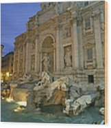 View At Dusk Of The Trevi Fountain Wood Print